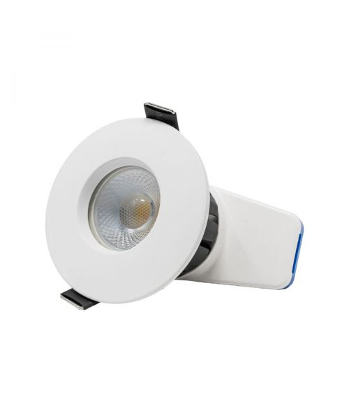 Calipso Fire Rated Downlight 7Watt. IP65. Tri Colour White Bezel Dimmable