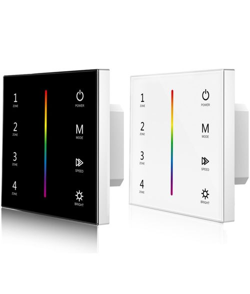 RGB 4 Zones RGB Slide Remote Control - Touch Glass Panel (100-240VAC Input)