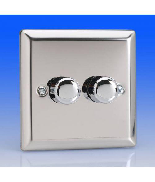 Varilight 2 Gang 250w 2 Way Trailing Edge Dimmer Switch - Chrome