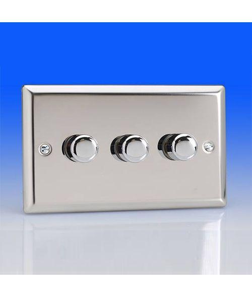 Varilight 3 Gang 300w 2 Way Trailing Edge Dimmer Switch - Chrome