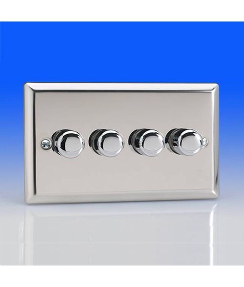 Varilight 4 Gang 250w 2 Way Trailing Edge Dimmer Switch - Chrome