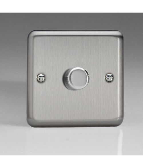 Varilight V-Pro Dimmer Switch. JSP401. Brushed Steel. 1 Gang