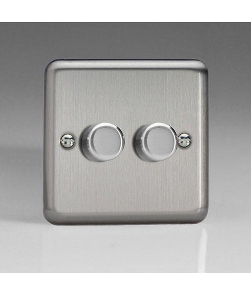 Varilight V-Pro Dimmer Switch. JSP252. Brushed Steel. 2 Gang