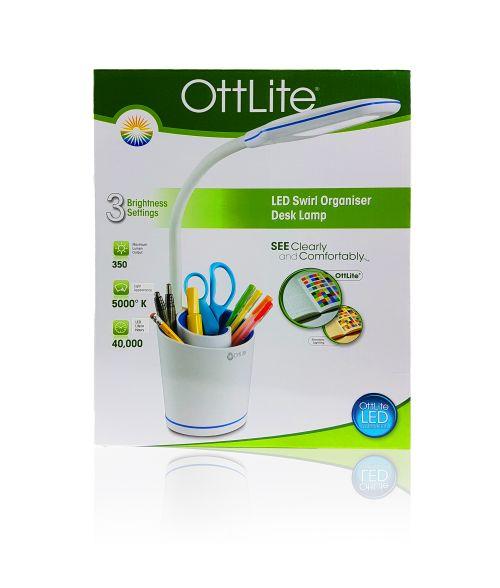 OttLite Desk Lamp with Swirl Organiser in Cool White 5000k