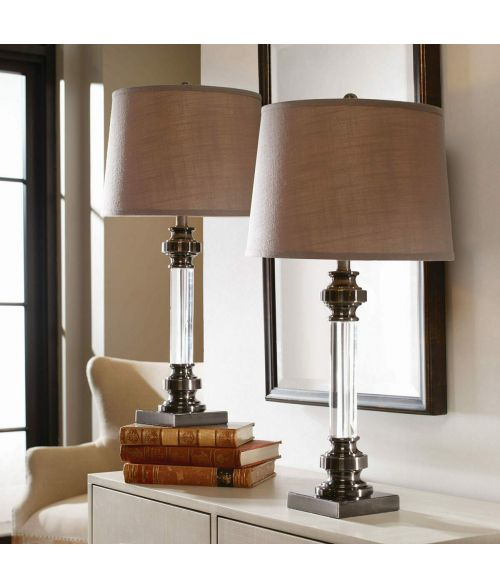 Uttermost Sam Crystal Table Lamp, 2 Pack, Antique nickel finish, Steel base