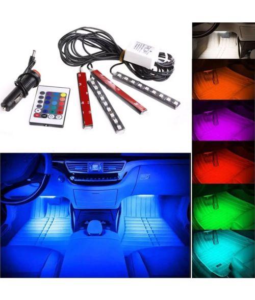 12V Ambient Car LED Light Strips - 16 Color Choices