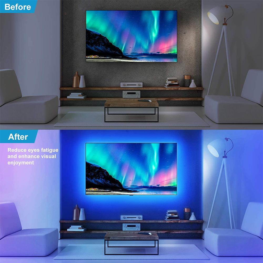 OLED back lit tv with strip lights